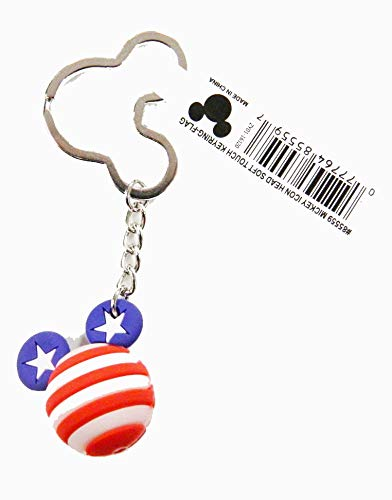 Disney 85559 Mickey Mouse American Flag Icon Ball Key Ring, - Disney Keychain Mouse Mickey