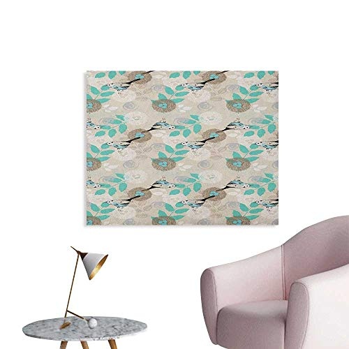 - Anzhutwelve Vintage Photographic Wallpaper Romantic Bird Pattern with Nest and Eggs Parental Love Themed Illustration Poster Paper Beige Seafoam Black W36 xL24