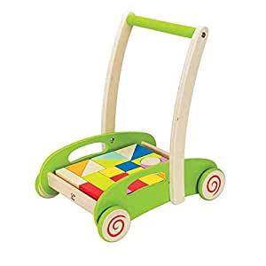 Hape Block and Roll Cart Toddler Wooden Push and Pull Toy 21 Pcs Blocks Wagen