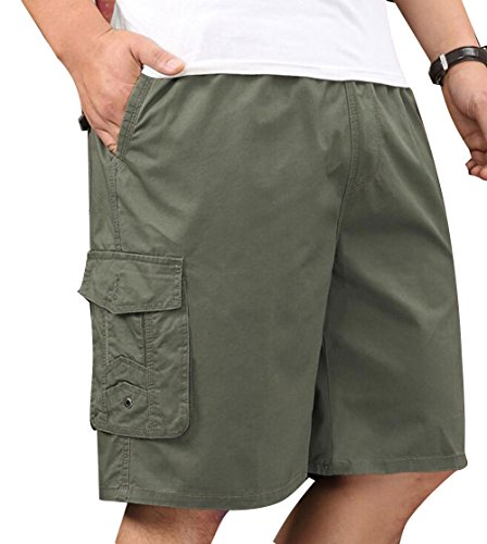 YangguTown Mens Cotton Full Elastic Waist Cargo Performance Baseline Shorts