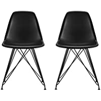 DHP Mid Century Modern Molded Chair with Coloured Leg, Set of Two, Black