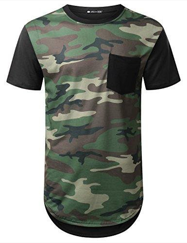 URBANCREWS Mens Hipster Hip Hop Camo Longline Pocket T-shirt BLK, M
