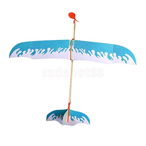 Blue Rubber Band Powered Glider Plane Aircraft Kit Flying Model Children Toy by uptogethertek