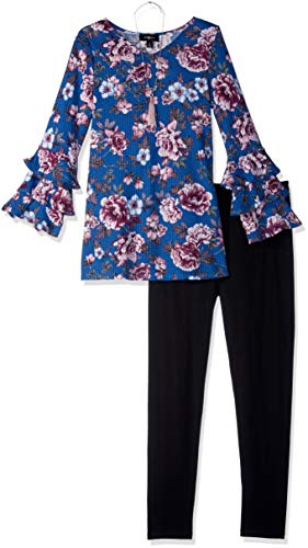 Amy Byer Girls' Big Tiered Sleeve Tunic and Legging Outfit Set, Navy/Plum/Wall Flower, M (Navy Plum)
