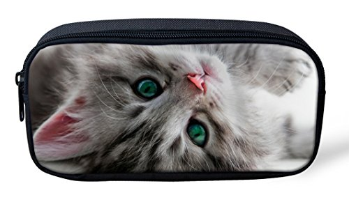 Cat Kitten Eye Print Pencil Bags for Girls Kids Canvas Pen Case Zipper Soft Stationery Pouch Makeup Cosmetic Bag for Women PH-CA4892K