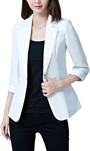 Women's Vintage Long Sleeve Casual Jacket Blazer, White US 4 = Tag L (3/4 Sleeves) ()