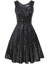 Women's 50s 60s Vintage Sleeveless V-Neck Cocktail Swing Dress
