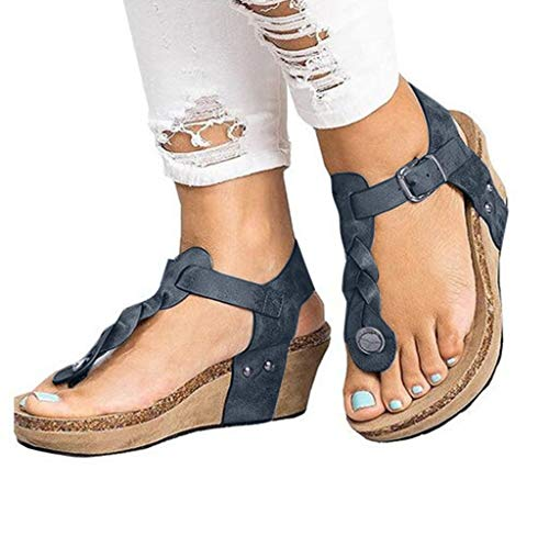 Comfortable Wedge Shoes On Sale Clearance for Women!melupa Flip Flop Buckle Strap Sandals Platforms