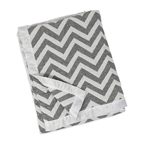 Trim Crib Blanket - Living Textiles Muslin Jacquard Blanket with Grey Chevron. Double-Layered Muslin Jacquard 100% Cotton Baby Blanket (40x30 inch)