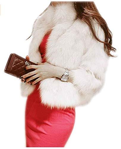 Coat White Fur Faux - Women's Elegant Short Faux Fur Coat Winter Warm Fur Jacket Overcoat Outerwear, White, US 8-10/Tag 2XL