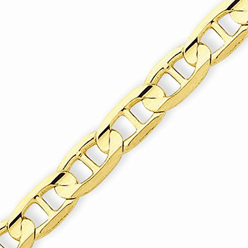 14k Gold Solid Mariner Chain Bracelet with Lobster Clasp (5.1mm) - Yellow-Gold, 9 (14k Yellow Gold Mariner Bracelet)