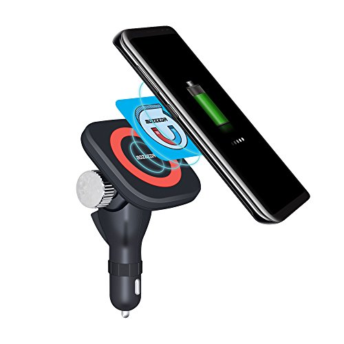VIEE Wireless Car Charger, Qi Magnetic Wireless Charging Mount 180° Adjustable Cordless Car Charging Cradle For Samsung, iPhone and All Android Smartphones (Car Charger+Smart Magnet) by VIEE