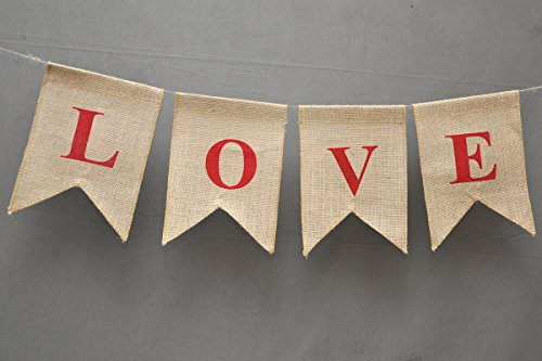 LOVE Burlap Banner - Wedding Flag Home Décor - Valentine Burlap With Red Heart on The Edges - Bridal Shower Banner - Rustic Wedding Garland - Engagement Party Décor - Wedding Heart Bunting