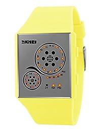 Mastop Unisex Watches Digital Sport Binary Led Watch Band 50M Waterproof Wristwatch Orange