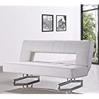 Limari Home Alice Collection Modern Living Room Fold-Out Leatherette Upholstered Sofa Bed, White