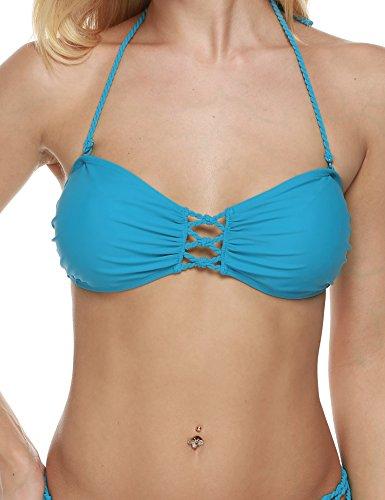 Wlone Sexy Bandeau Bikini Top Bra for Women Strappy Two Piece Swimsuits (Light Blue) - Separates Bandeau Bikini Top