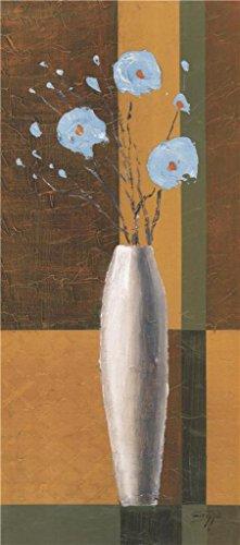 The Perfect Effectキャンバスの油絵`ブルーの花の花瓶を」、サイズ: 10x 22インチ/ 25x 57cm、このReproductionsアート装飾プリントキャンバスは、フィットのバー装飾とホームギャラリーアートとギフトの商品画像