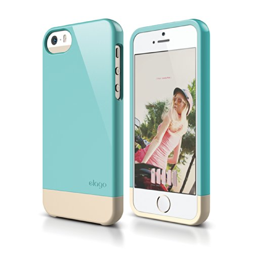 iPhone SE case, elago [Glide-Limited][Coral Blue / Champagne Gold] - [Mix and Match][Premium Armor][True Fit] - for iPhone SE/5/5S