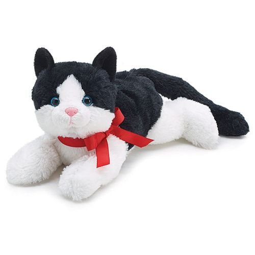 Black and White Plush Kitty Cat with Red Bow for Valentine's - Kitty With Bow