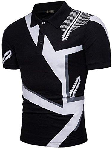 (Sportides Men's Casual Short Sleeve Polo T_Shirt Tee Shirt Tops JZA399 Black)