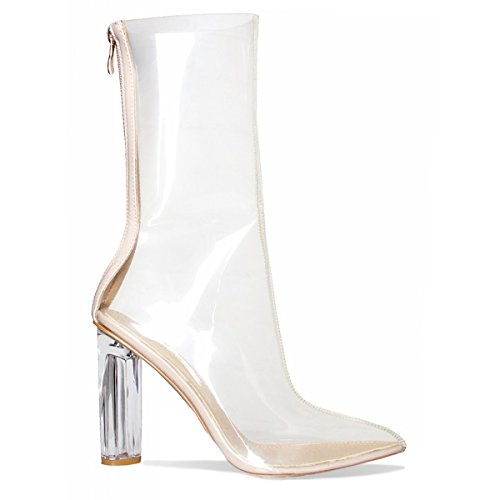 Themost Womens Transparent Closed Pointy Toe Chunky Heels Designer Ankle Boots Large Size (7.5) (Clear Ankle Boots)
