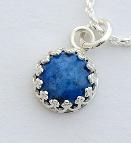 Genuine Denim blue lapis lazuli necklace 8mm lapis gemstone sterling silver layering (Lapis Rope Earrings)