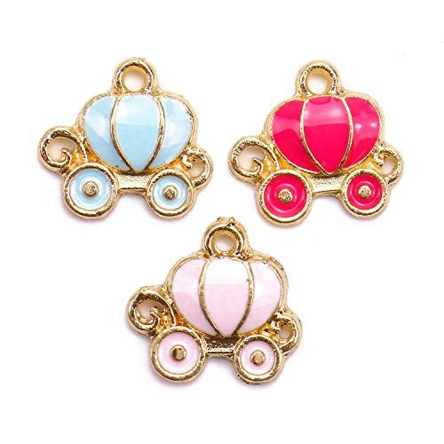 Monrocco 30Pcs Cinderella Carraige Charm Pendants Enamel Carraige Gold Plated Enamel Charms for Jewelry ()