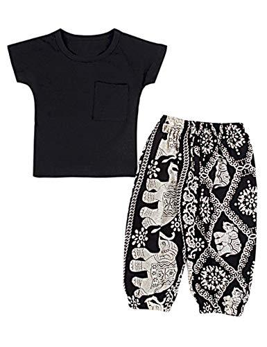 Toddler Baby Girls Clothes Pure Black Short T-Shirt + Elephant Harem Pants Wide Pants 2PCS Outfits - Black Girls T-shirt Toddler