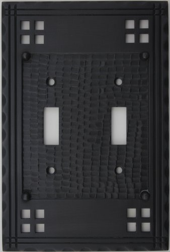 Arts & Crafts Mission Style Oil Rubbed Bronze Two Gang Switch Plate - Two Standard Toggle Light Switch (Crafts Mission Bronze Finish)