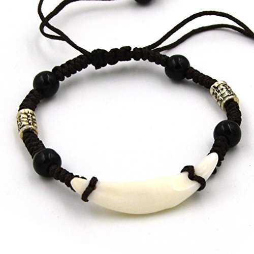 Off Silver Bead (HZMAN Tibetan Style Real Wolf Tooth Silver Beads Adjustable Cord Bracelet, Prehistoric Caveman)