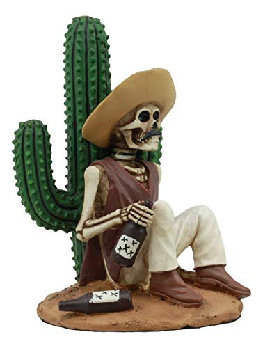 ShopForAllYou Figurines and Statues Day of The Dead El Borracho Drunk Desert Bandit by Cactus Skeleton Statue