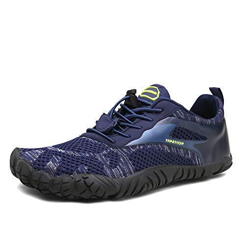 Fivefinger Light - Oberm Mens Trail Running Shoes Minimalist Barefoot 5 Five Fingers Wide Width Toe Box Gym Workout Fitness Low Zero Drop Male Light Weight Comfy Lite Tennis FiveFingers Blue