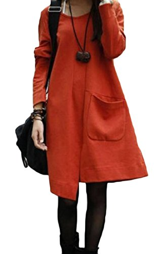 Irregular Womens Mid Length Solid Splicing Dress Sexy Orange2 Pockets Coolred x7XUqpU