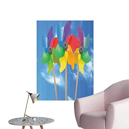Wall Stickers for Living Room Three Pinwheel Kids Play Toys Sunny Vacati Fun Outdoor Activities Vinyl Wall Stickers Print,24