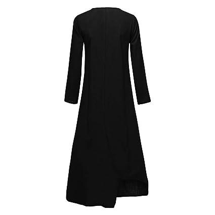 ZODOF vestidos mujer vestido bohemio mujer Algodón Y Lino Color ...