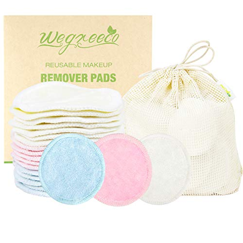 Cotton Rounds Reusable 16 Packs - Reusable Bamboo Makeup Remover Pads for face - Reusable Facial Pads Reusable Facial Cotton Rounds with Laundry Bag (Bamboo Velour, 3 colour)