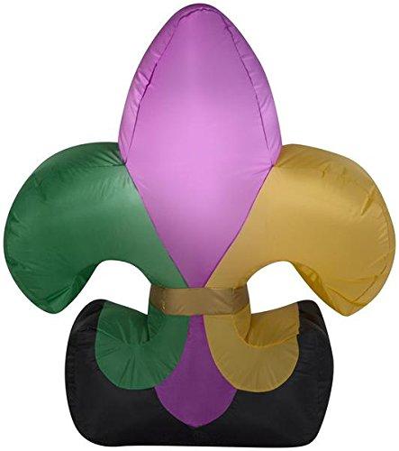 Gemmy 3ft Airblown Inflatable Mardi Gras Fleur de lis (Mardi Gras Inflatables)