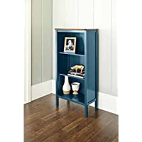 Bookcase with 3-shelves and a Curved, Deep Walnut Finished Top Panel Is a Stylish, Noteworthy and Ideal Storage Area for Your Home or Office. This Bookshelf Is a Beautiful Cabinet That Will Put Extra Storage Space in Your Kitchen. (deep Teal)