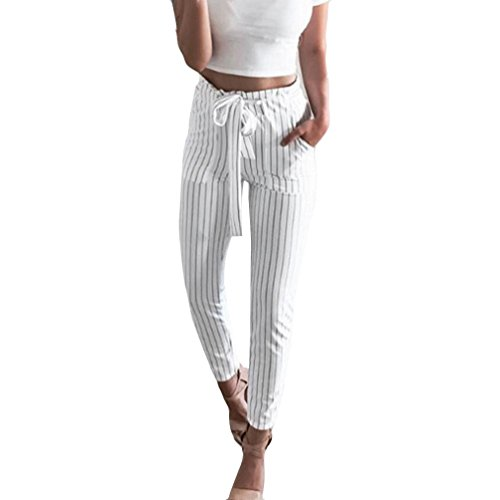Bravetoshop Womens Striped Wide Leg Pants Pocket Drawstring Palazzo Pants Long (White, XL) ()