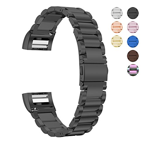 For Fitbit Charge 2 Stainless Steel Replacement Accessory Bands,Oitom Premium stainless steel watch band straps Wristbands Bracelet for fitbit Charge 2 Smart Fitness Watch black by Oitom