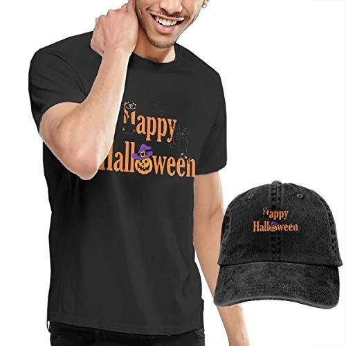 Pokuisnb Comfortable Men's T Shirt and Caps Combination Black for Fitness Halloween -