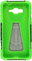 HR Wireless Carrying Case for Samsung Galaxy Grand Prime LTE - Retail Packaging - Green Aztec/Neon Green