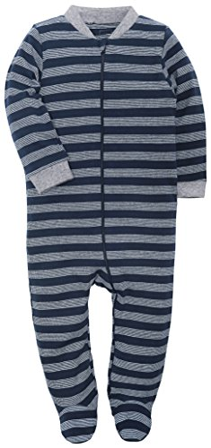 (HONGLIN Footed Baby Pajama Boys Girls Sleeper Striped Long Sleeve 100% Cotton Zip Front Neutral)