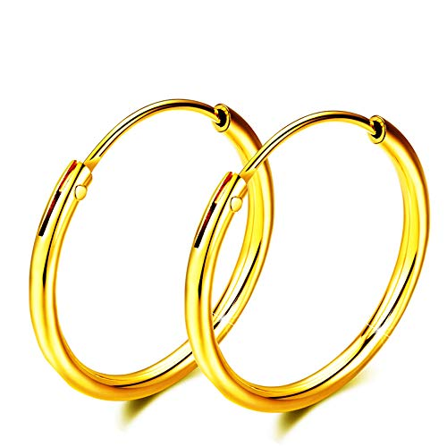 (gold plated Sterling Silver hoop earrings For Women Girls, Polished Round Endless Fine Circle Hoops earrings gift, 1.18