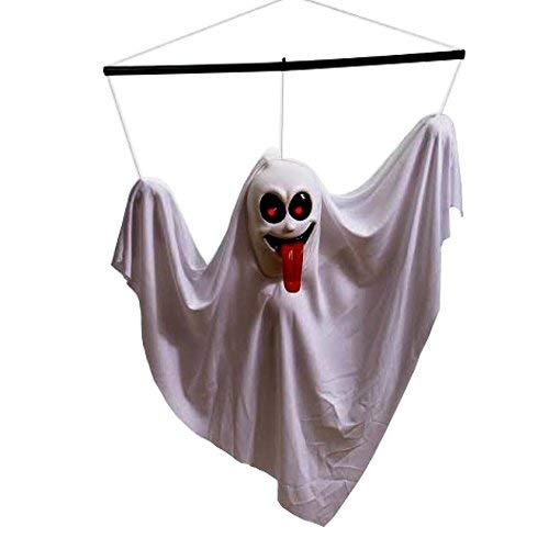 Ghost Noises For Halloween (Hanging Ghost | Halloween Animated Shaking Ghost | Hanging Ghost Decoration | White  Shaking Ghost  with Sounds and Flashing Eyes | Dazzling)