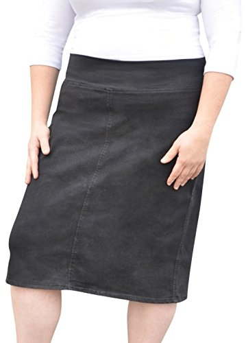 Kosher Casual Women's Modest Straight Midi Length Denim Skirt Stretch Waistband No Slits Regular and Plus Size Plus 20 Stonewash Black with Black Stitching by Kosher Casual (Image #2)