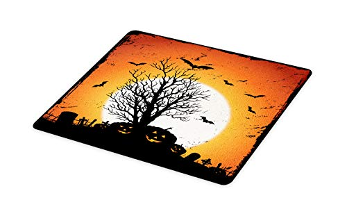 Ambesonne Vintage Halloween Cutting Board, Grunge Halloween Image with Eerie Atmosphere Graveyard Bats Pumpkins, Decorative Tempered Glass Cutting and Serving Board, Large Size, Orange Black ()