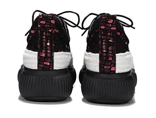 Para Con De Zapatos Cuero Casuales Con De Cordones WineRed Zapatos Zapatos Plataforma Mujer Gruesa Suela zId4qqS