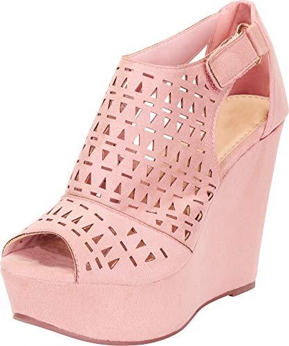- Cambridge Select Women's Open Toe Laser Cutout Caged Chunky Platform Wedge Sandal,9 B(M) US,Mauve IMSU