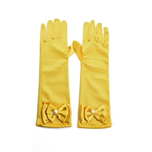Greenmoe Girls Long Satin Finger Bowknot Formal Pageant Kids Gloves Yellow